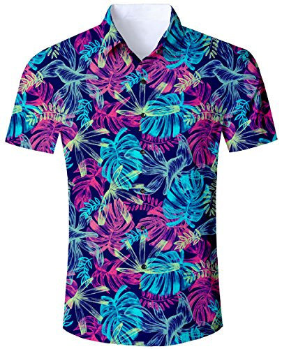 Hawaiian Shirt Street (Goodstoworld Men's 5D Printed Hawaiian Aloha Shirt Relaxed Regular Casual Hawaiian Short Sleeve)