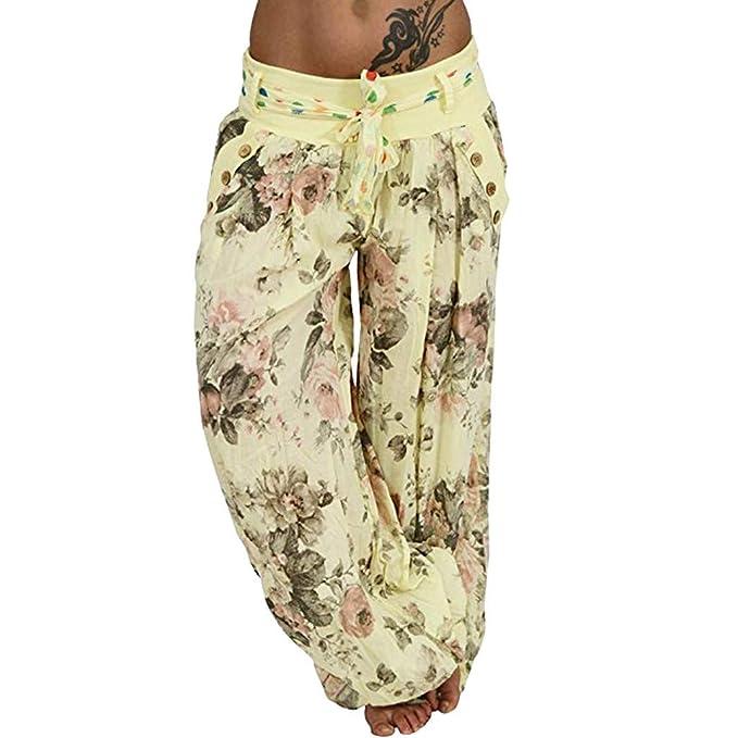 RISTHY Pantalones Anchos Mujer, Harem Pantalón con Veraniego ...