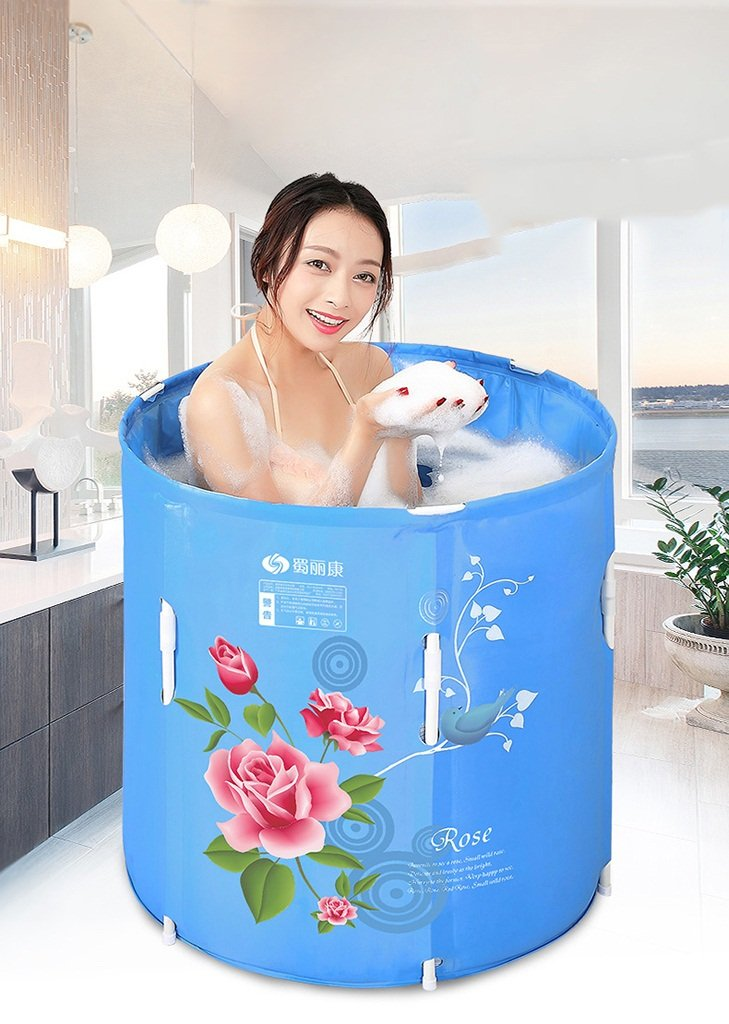 Sunhai& Adult Folding Type Can Lift Up And Down Bathtub,Double Drainage Design Nylon Fabric Material Bathtub,Children Insulation Bath Barrels(7070cm) ( Size : 7070cm )