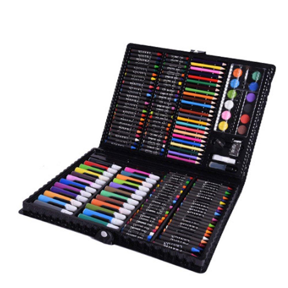 Stift malen Kinder Aquarell Stift Buntstift Pinsel Set Malerei Malerei Schreibwaren Werkzeug Pinsel Geschenkbox Bunte Stifte (Farbe : Schwarz)