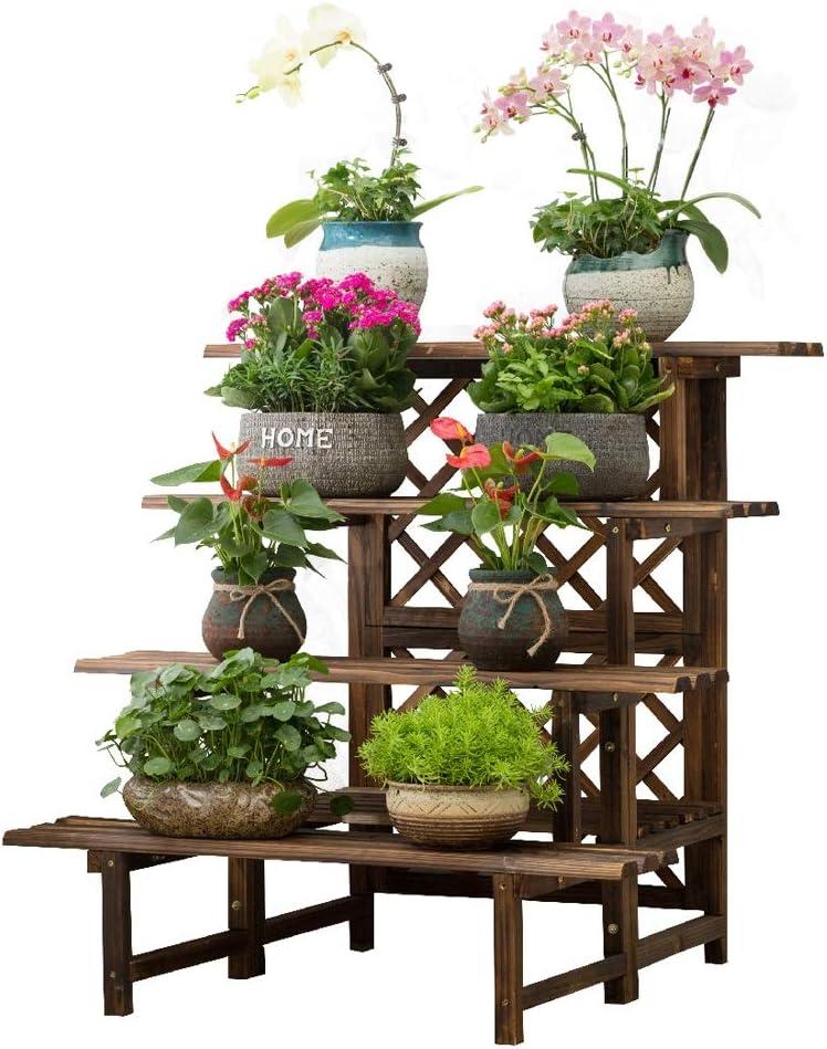YXLZZO Massivholzblumenregal Innen Wohnzimmer-Stand Gestufte Blumentopf-Rack Blumenständer