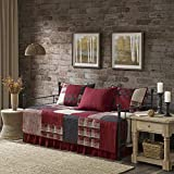 Woolrich Sunset 5 Piece 100% Cotton Plaid Quilt Set Coverlet Bedding, Daybed, Red