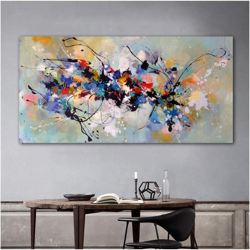 Pinturas sobre lienzo Arte de la pared Cuadros abstractos para sala de estar dormitorio Casa moderna pintura decorativa 60x120cm enmarcado colorido