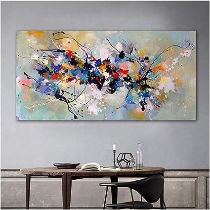 Pinturas sobre lienzo Arte de la pared Cuadros abstractos para sala de estar Dormitorio Moderno hogar Pintura decorativa 70x140cm Sin marco Colorido: Amazon.es: Hogar