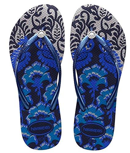 Havaianas Womens Slim Royal Sandal Flip Flop, Navy/Silver 37 BR/7-8 W - Havaianas Shop