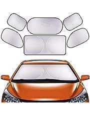 GLURIZ Parasoles de Coche, 6 Piezas Parasoles para Auto, Parasol Coche para Bebés y Mascotas, Protección Auto Frontal Plegable contra el Calor y los Rayos UV del Sol