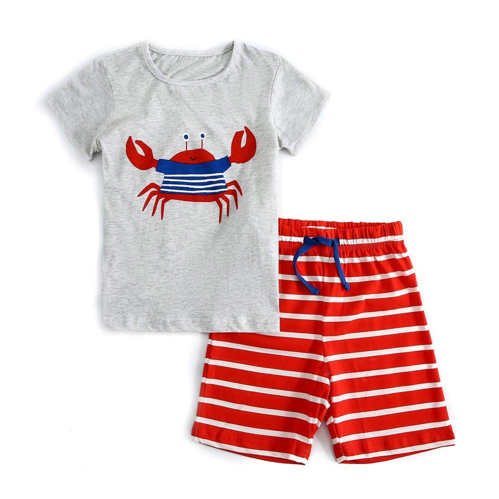 Meeyou Little Boys' Cotton Short Sleeve T-Shirt & Plaid Shorts Set