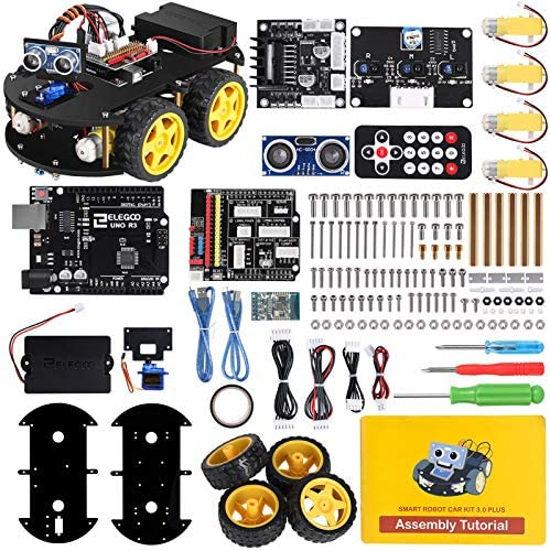 ELEGOO UNO R3 Project Smart Robot Car Kit V 3.0 Plus with UNO R3, Line Tracking Module, Ultrasonic Sensor, IR Remote Control and so on. Intelligent and Educational Toy Car Robotic Kit for Arduino Learner