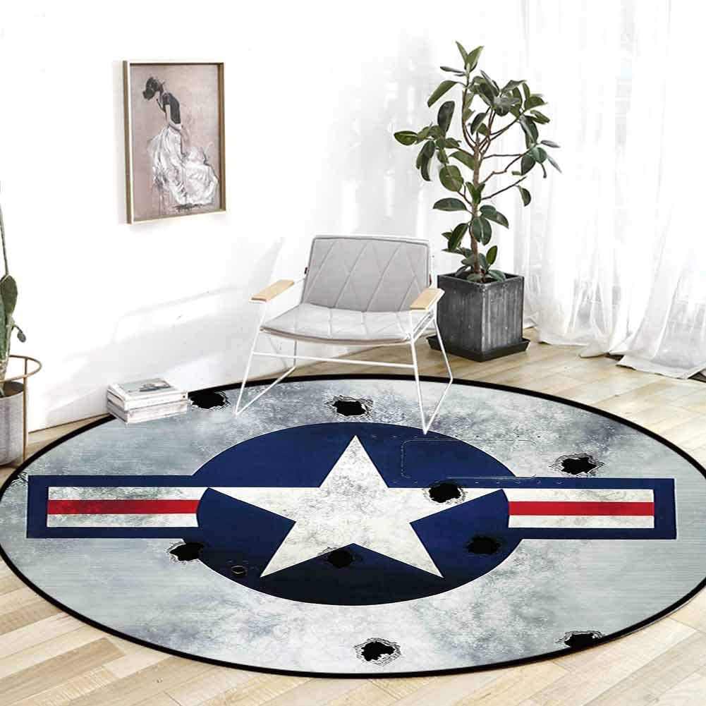 Kitchen Rug Airplane Decor Army Logo USAF Star Round On Grunge Metal with Bullet Holes Aircraft Art Print Navy Blue Grey Carpet Squares 3'Round