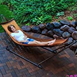 The portable hammock with custom carrying case can be taken anywhere. The one piece frame easily opens and locks in place for fast and no lost parts to look for! The curved hardwood spreader bar keeps the hammock open for easy entrance and exit. Also...