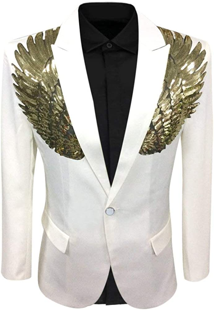 Men's Wedding Sequin Wing Stage Clothes Premium Suit Jacket Blazer Coat