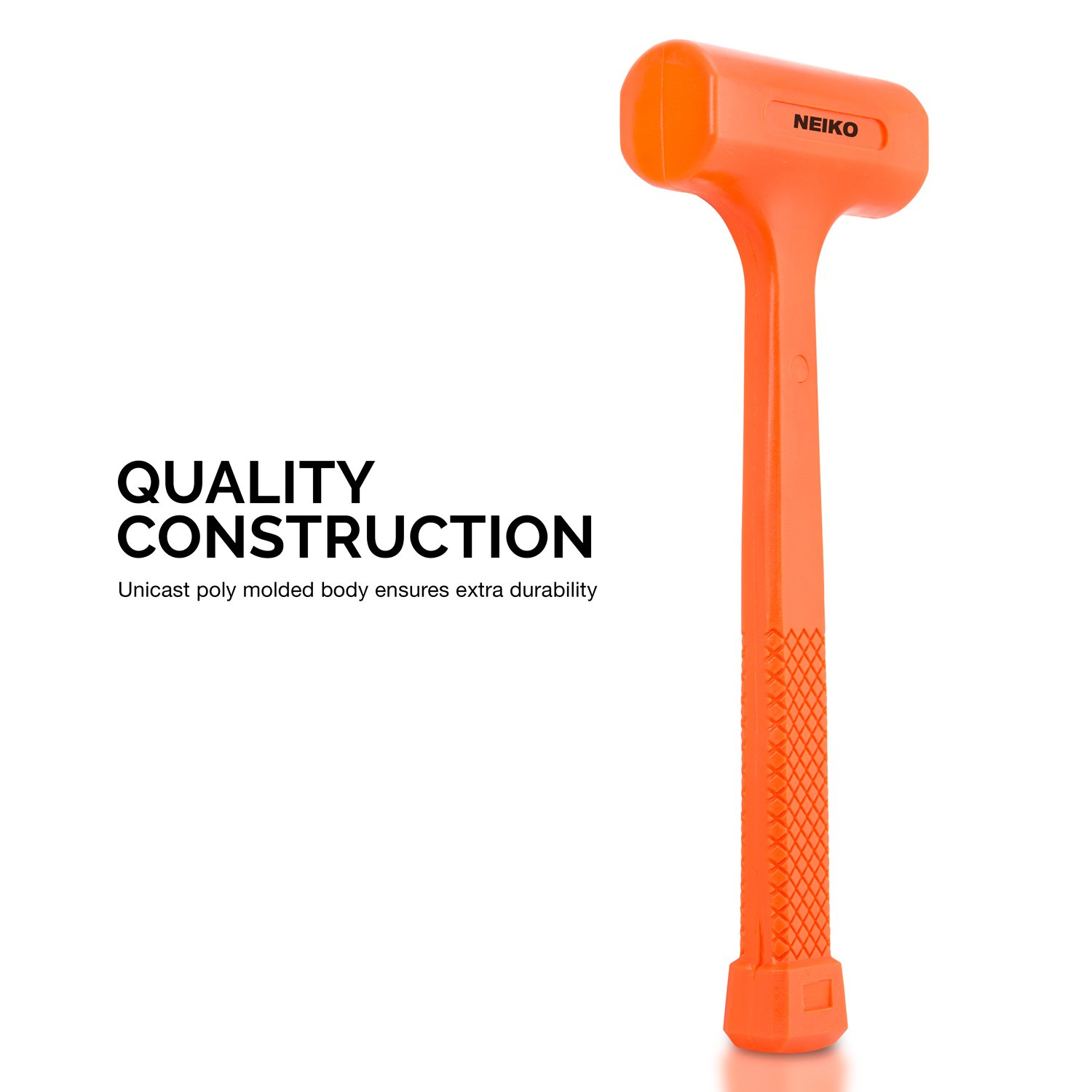 Neiko 02846A 1 LB Dead Blow Hammer, Neon Orange | Non Slip Handle by Neiko (Image #3)