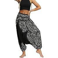 Fankle Women's Floral Boho Genie Aladdin Smocked Waist Harem Pants Sale Yoga Fitness Hippy Tapered Trousers