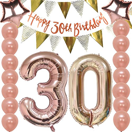 30th Birthday Decorations Party Supplies Kit Rose GoldFunny Happy Banner
