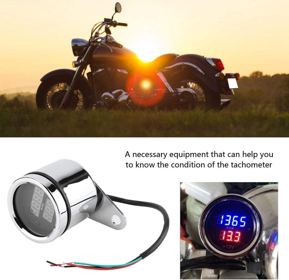 Drehzahlmesser Motorrad Digital Tachometer Digitaler Elektronischer Elektronisch Mechanisch Voltmeter 2 In 1 Led Metall Kilometerzähler Auto