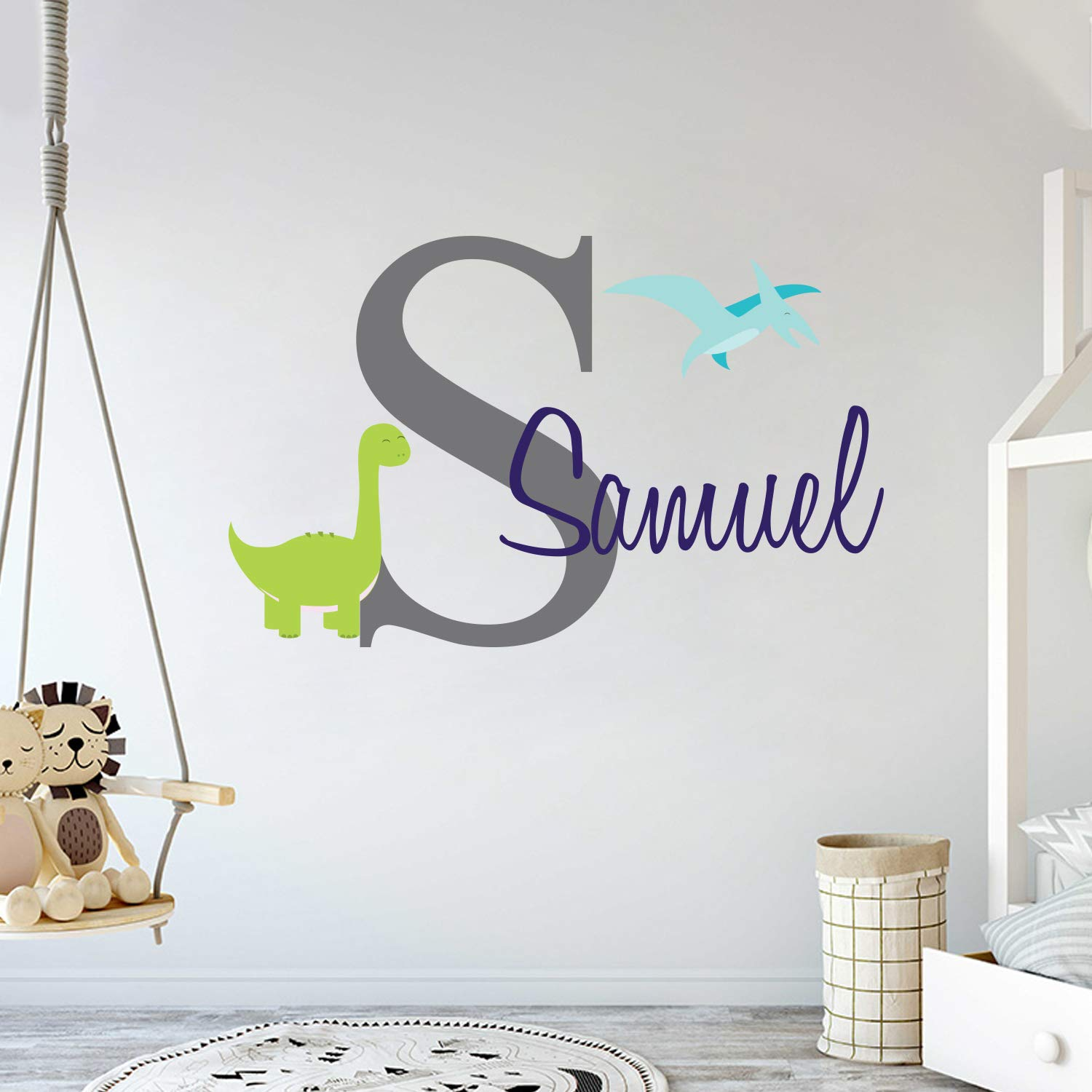 Custom Name & Initial Dinosaurs Animal Series - Baby Boy - Nursery Wall Decal For Baby Room Decorations - Mural Wall Decal Sticker For Home Children's Bedroom (MM103) (Wide 42'' x 25'' Height)