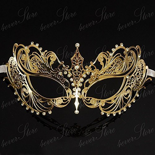 Matching Couple Lover Half Gold Lining & Extra Venetian Masquerade Mask