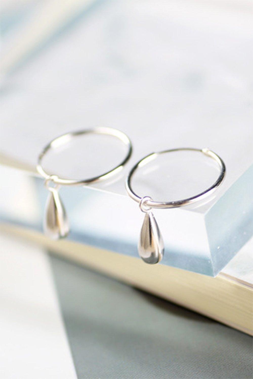 Unique Women Gift s925 Sterling Silver Hoop Earrings earings Dangler Eardrop Ear Drops Small Creative Gift Fashion Silver Lovely Woman