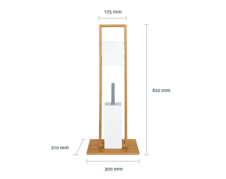 21/x 83/x 30/cm Marr/ón SANWOOD 9313026/Nevera Escobilla bamb/ú MDF Papel Higi/énico WC con Soporte para Rollos de Papel Acero Inoxidable