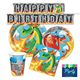 FAKKOS Design Dragon Party Supplies Tableware Set for 16 Guests - Plates, Napkins, Cups, Banner