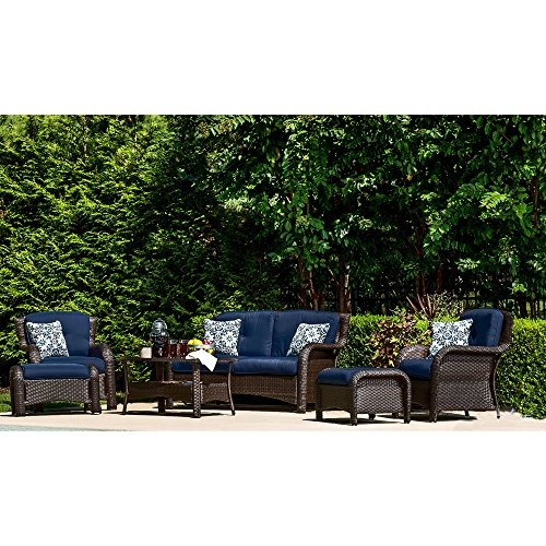 Hanover Strathmere 6-Piece Seating Set Outdoor Furniture Navy Blue / Navy Kaleidoscope STRATHMERE6PCNVY