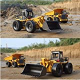 RC Excavator Caterpillar Metal Bulldozer Toy with Remote Control Charging RC Car Yellow