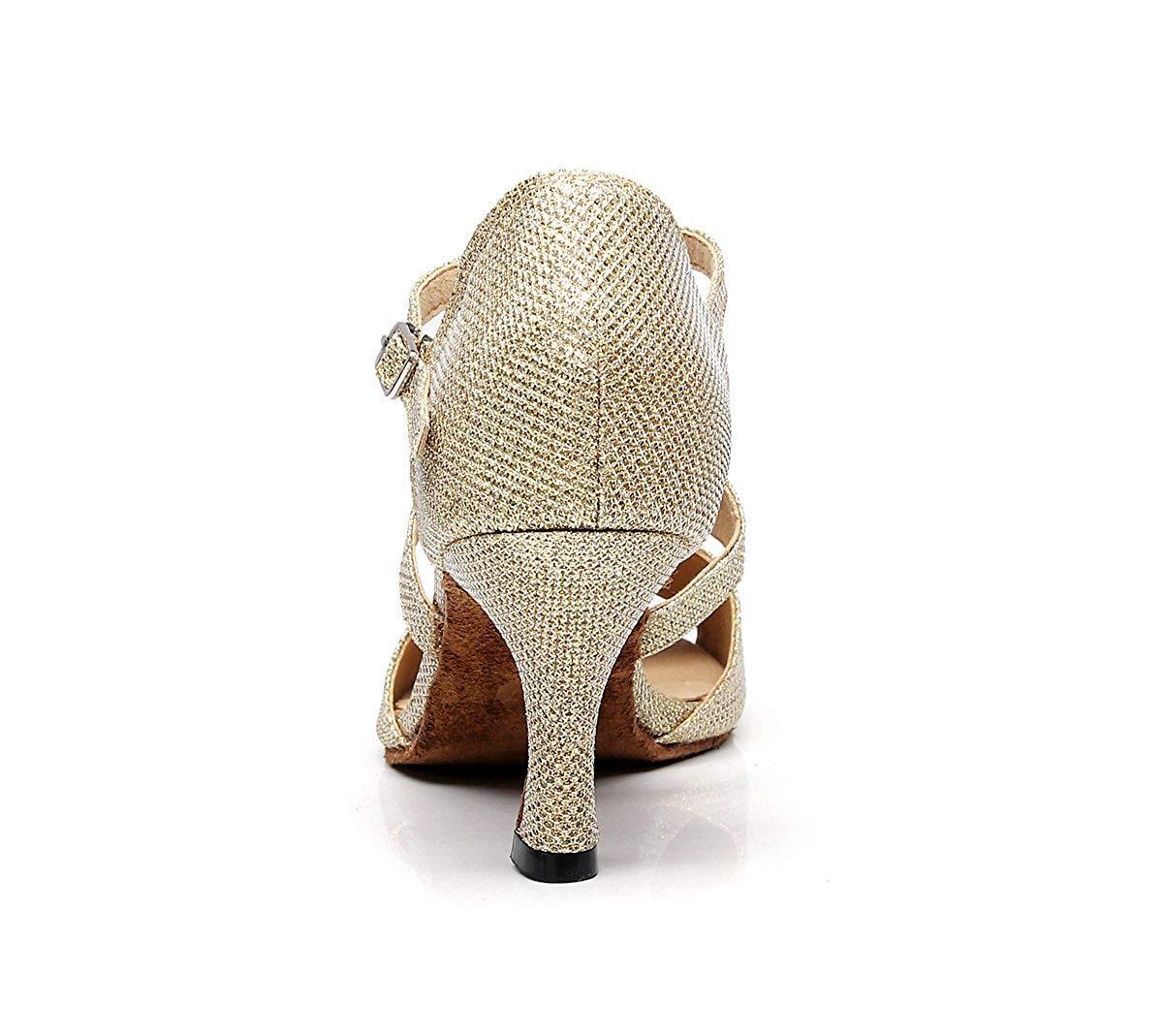 ZHRUI TJ7135 Damen Mädchen T-Strap Gold Glitter Salsa Latin Latin Latin Tanzen Sandalen UK 4 (Farbe   -, Größe   -) 20d667