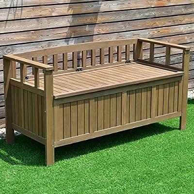 Goplus All Weather Outdoor Patio Storage Garden Bench Deck Box 70-Gallon, 55-inch