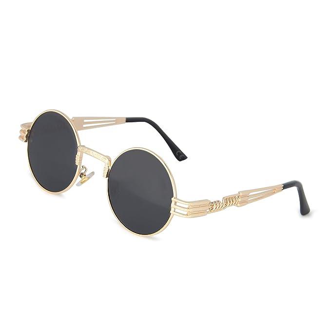 AMZTM Gafas de Sol Retro Steampunk Reflejado Gafas Redondo Vendimia Hippie para Mujer Y Hombre Lente Polarizada Marco de Metal Protección UV 400 ...