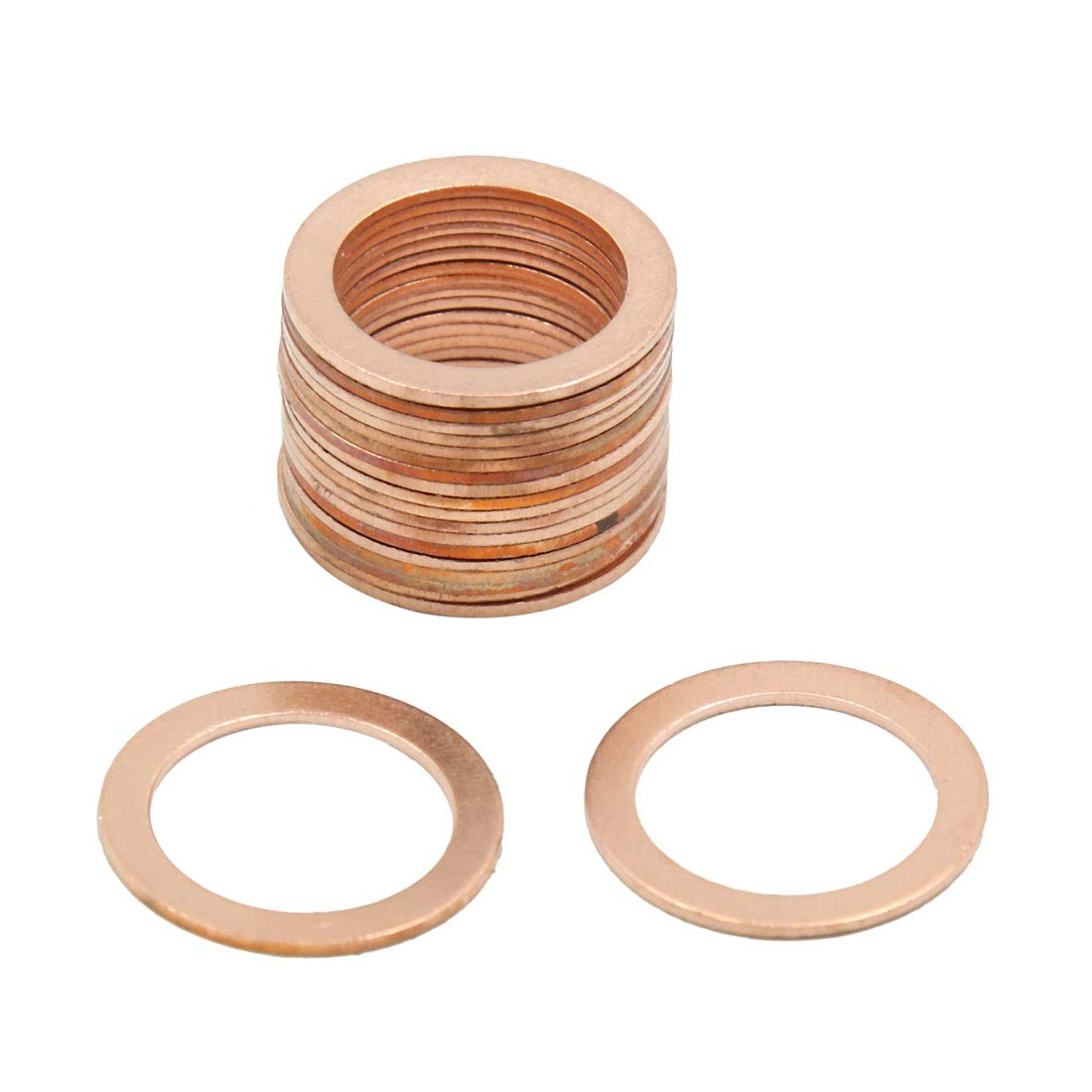 X AUTOHAUX 18mm Inner Dia Copper Crush Washers Flat Sealing Gaskets Rings 20pcs