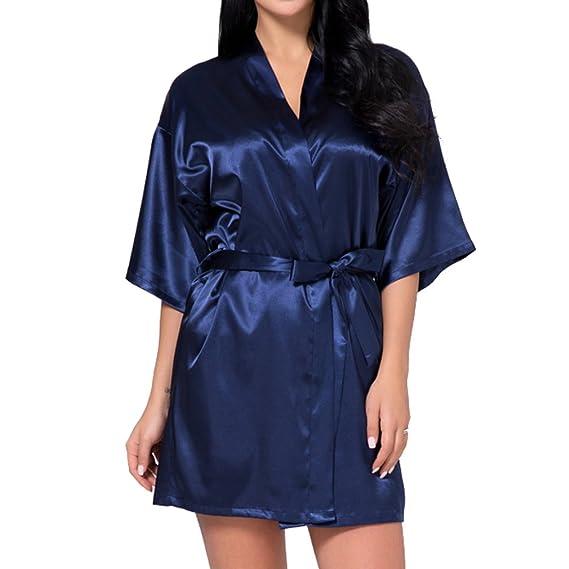 juqilu Dama De Honor Novia Madre Bata Mujer Kimono Túnicas De Niña Raso Camisón Estilo Corto Faux Seda: Amazon.es: Ropa y accesorios