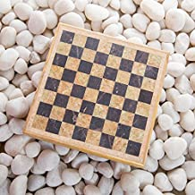 Rusticity Marble Chess Set with Folding Board and Chess Pieces | Handmade | (8x8 in)