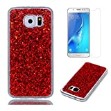 Fit for Samsung Galaxy S7 Glitter Case with Screen Protector,OYIME [Red Sequins] Shiny Bling Luxury Design Clear Ultra Thin Soft Rubber Protective Back Cover Transparent Scratch Resistant Drop Protection Bumper