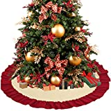 D-FantiX Large Christmas Tree Skirt 48 Inches, Red and Beige Xmas Tree Skirt wtih Red Ruffled Trim Holiday Christmas Decorations