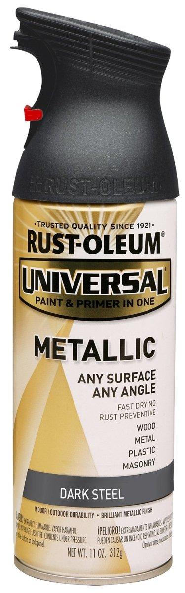 Rust-Oleum 262662 Universal All Surface Spray Paint, 11-Ounce, Metallic Dark Steel