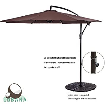 COBANA 10u0027 Cantilever Freestanding Patio Umbrella Hanging Outdoor Umbrella  With Crank And Base, 250g
