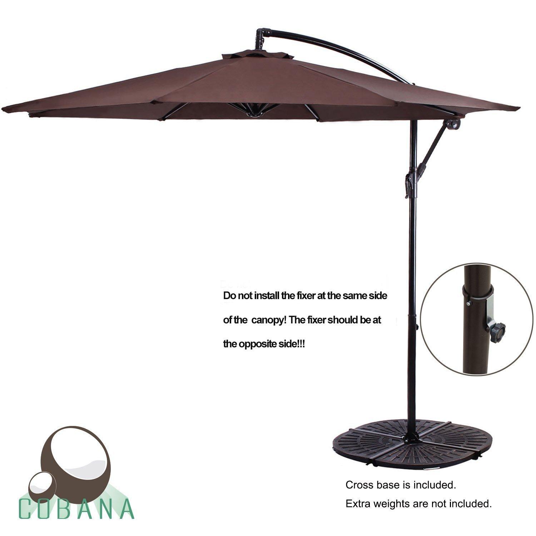 COBANA 10' Cantilever Freestanding Patio Umbrella Hanging Outdoor Umbrella with Crank and Base, 250g/sqm Polyester, Coffee