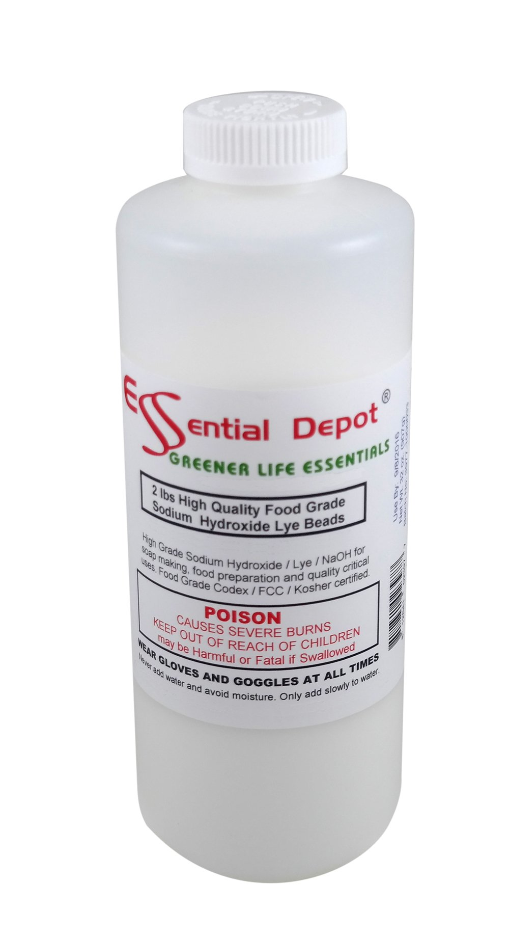 Food Grade Sodium Hydroxide Lye Micro Beads, 2 Lbs. by Essential Depot