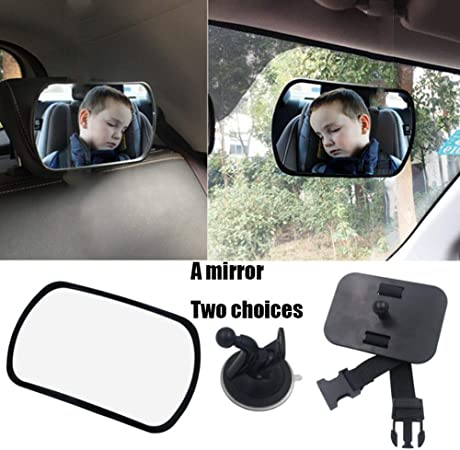 Rear Seat Mirror For Babies With 2 Mounting Options Including Suction Base Belt Closure Baby Car Mirror Back Seat 360 Swivels Size 16 5 X 10 X 6 Cm Auto