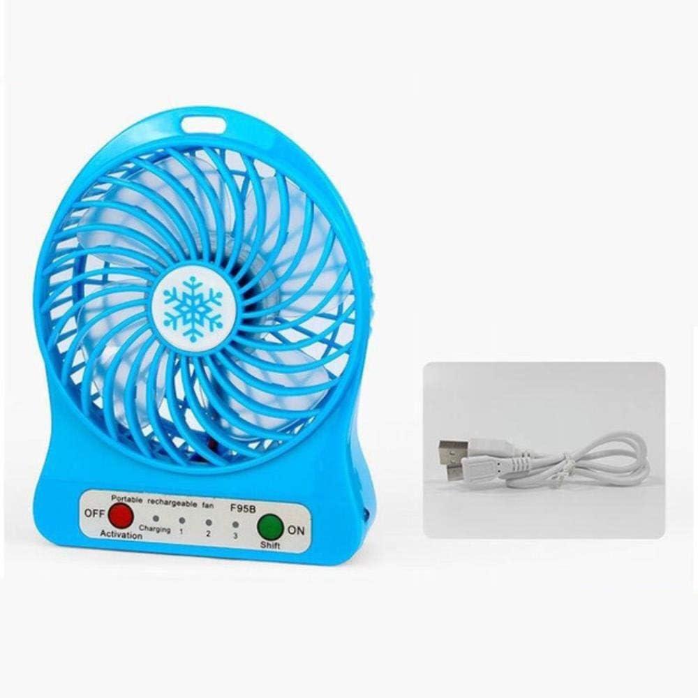 Senfeng Portátil Personal Mini USB Ventilador con Ventilador de Escritorio de enfriamiento LED acelera Oficina del Verano del Ventilador 3 de Aire de refrigeración controlada Recargable,Azul