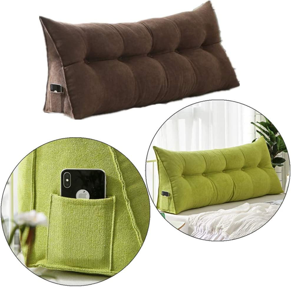 VERCART Backrest Wedge Reading Pillow Large Bolster Triangular Positioning Support Cushion for Headboard Day Bed Bunk Bed with Removable Cover Velvet Black 120cm
