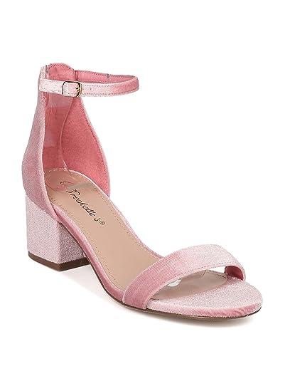 b30fb257e1a Women Velvet Open Toe Chunky Heel Ankle Strap Sandal GG65