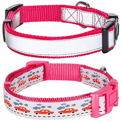 Blueberry Pet 1-Inch Reflective Basic Polyester Nylon Dog Collar, Large, French Pink