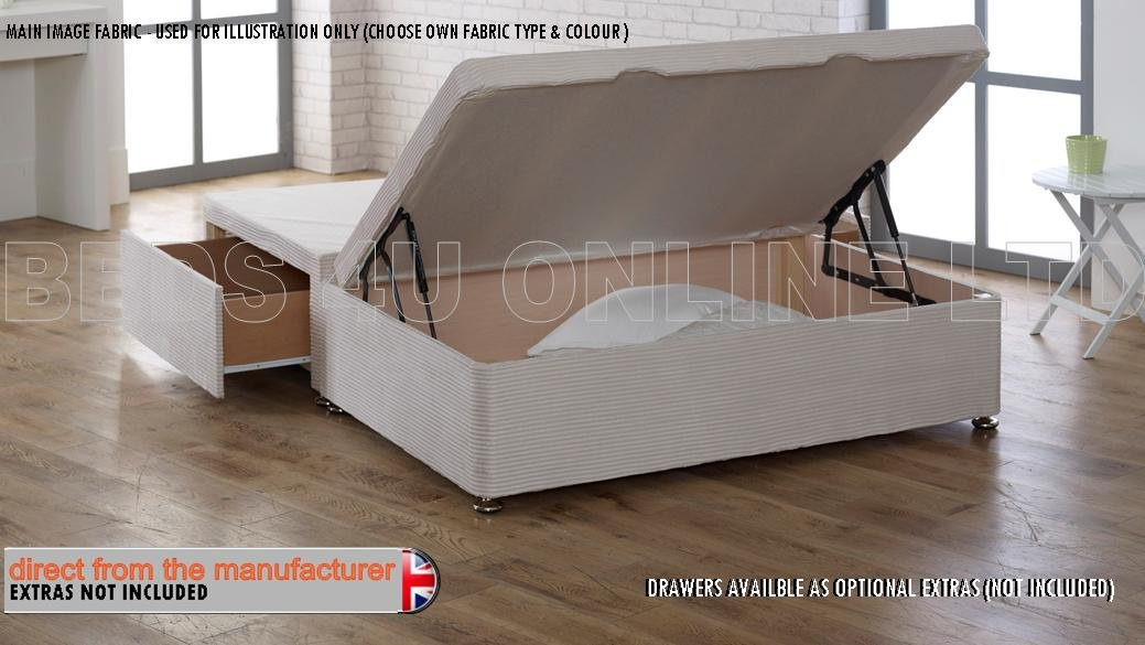 HALF OTTOMAN STORAGE BED Gas Lift Chenille BASE ONLY - NO DRAWERS (4' Small Double, Coffee) Designer Beeds