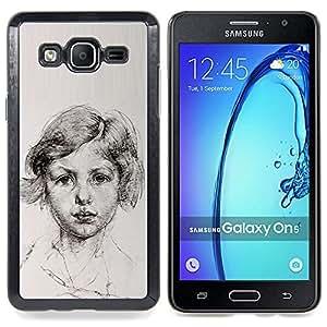 For Samsung Galaxy On5 O5 Case , Retrato joven muchacha de papel - Diseño Patrón Teléfono Caso Cubierta Case Bumper Duro Protección Case Cover Funda