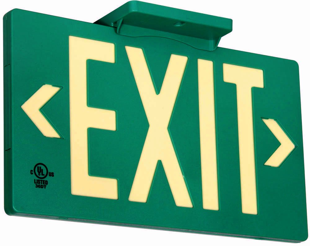 UL Listed 50 foot Jessup Glo Brite 7040-B 8.75 x-15.5-Inch Single Sided Exit Sign with Frame, Green(Mounts 4 ways, includes bracket and arrows)