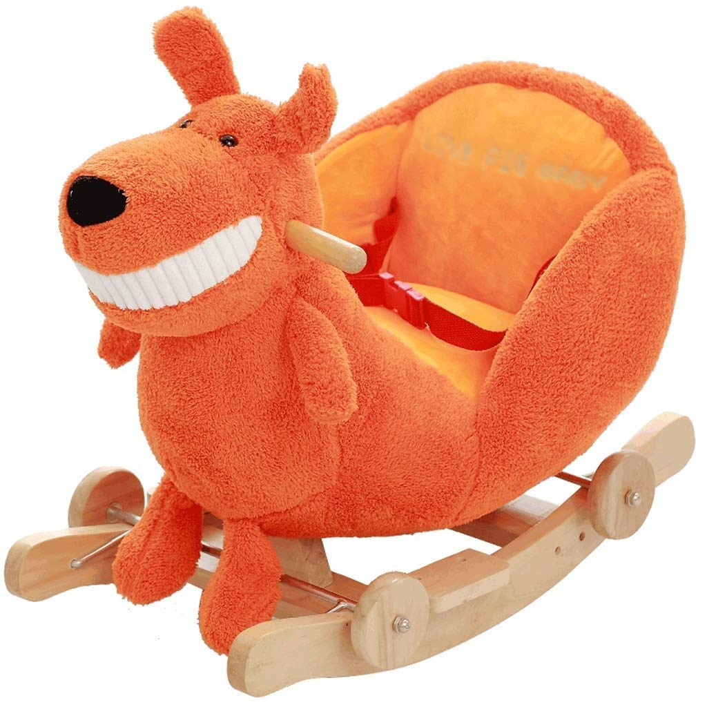 Kylinmmn Baby Rocking Horse, Plush Rocker Toy Wooden Riding Horse for 1-3 Years Boy&Girl, Toddler Outdoor&Indooor Toy Rocker, Plush Animal Rocker Chair