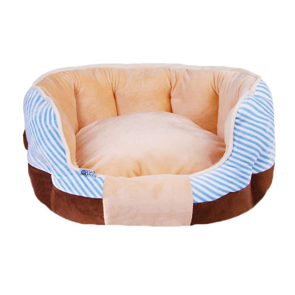 bluee M bluee M GHMM Pet bed Crystal velvet kennel soft and comfortable breathable waterproof non-slip durable multi-color optional A02 Pet bed (color   bluee, Size   M)