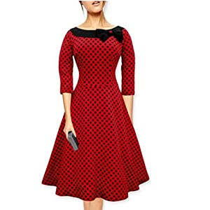 Artfasion Women Rockbilly Vintage Scoop Neckline Midi Swing Dress Party Dress (1507red+black)