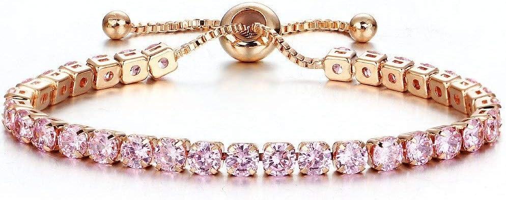LQXZJ Amistad Pulsera de Hilo-Damas de Oro llenas de Diamantes con Incrustaciones de Cristal de una hilera de Push-Pull Pulsera de bebé for Novia Y Regalo de cumpleaños (Color : #-4)